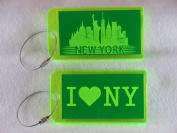 Destinations Neon Acrylic I.D. Tag - New York Green