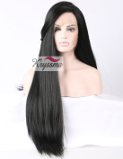 K'ryssma Natural Looking Long Black Yaki Straight Glueless Lace Front Wig for African American Women Synthetic Hair Light Yaki Full Wigs Heat Friendly 46cm - 60cm
