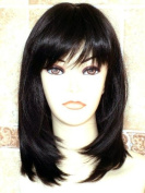 THZ Medium Long Women's Hair wig Black Wig