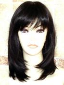 THZ Medium Long Women's Hair wig Black Wig