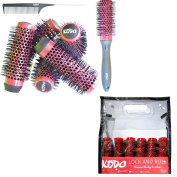 Kodo Lock and Roll Brush Set Sytem, 6 Barrels, 1 locking handle and 1 pin tale comb, Brush Gift Set Red