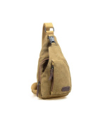 Modelshow Canvas Casual Outdoor Sports Unbalance Backpack Crossbody Sling Bag Chest Bag for Men