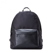 Backpack bag in leather and nylon with zippered front pocket Gear Band Black