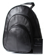 Christian Wippermann® Women's Genuine Leather Backpack Women's City Bag Black Butterweiche