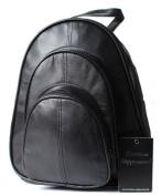 Christian Wippermann® Women's Genuine Leather Backpack Women's City Bag Black Butterweiche