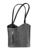 Italian Genuine Leather Handbag Shoulder Bag Crocodile Grey Black