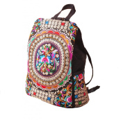 Brinny Vintage National Embroidery Canvas Backpack Womens Ladies Rucksack Shoulder Bag