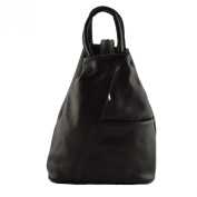 Backpack For Woman In Genuine Leather With Adjustable Straps Black - Leather Goods Made In Italy - Backpack