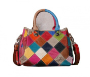 Multicolour Patchwork Real Leather Small Zip Bag Handbag Messenger