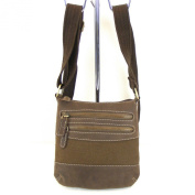 HGL Womens Zip Bag Cross Over Bag Canvas with Leather Brown 10722