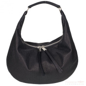 Abro + Winter Macchiato Perfori 026053 Women's Leather Handbag 41X26X9 CM Black/Guncolor