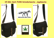 HF082 Game Bag Hemp Shoulder Bag Black Pure Hemp