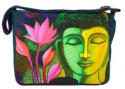 Messenger Bag with Buddha/Lotus in Petrol 36X30X12 CM by Jalan Jalan