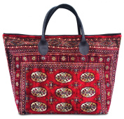 VOYAGER ELITE Bukhara Red - Large and wide Vintage-Style Tote Bag with leather handles and zipper