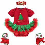 YiZYiF My First Christmas Tree Santa Jumpsuit Girls Tutu Outfit Baby Dress Clothes Set
