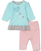 BON BEBE MINT HEART BALLOON RUFFLE DRESS & PINK LEGGINGS 6-12MTHS - New