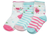 New 3 pairs of childrens kids socks - baby girl 0-12 months (birds and sea creatures) (Shoe size 00
