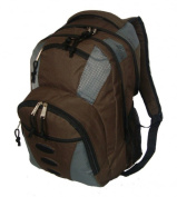 K-Cliffs 600D Polyester Backpack - 16.5 x 29cm x 17cm . Brown & Grey