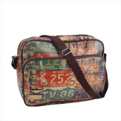 NorthLight 37cm . Decorative Vintage-Style Licence Plates Design Bag & Purse With Strap