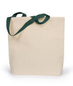 UltraClub 8868 Tote Bag with Gusset and Contrast Handles - Natural & Forest Green