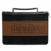 Christian Art Gifts 694196 Bible Cover-Classic & Strength Large - Black & Brown
