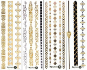 Beautiful Metallic Temporary Tattoo Bracelet Set - (Set 2) by ReignBeau B