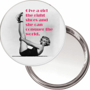 """Compact, Makeup Button Mirror with Marilyn Monroe image """"Give a girl the right shoes..."""" delivered in a black organza bag."""