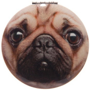 Round Mirror Compact by Laura Billingham - Pug Design A