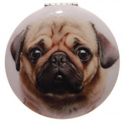 Round Mirror Compact by Laura Billingham - Pug Design C
