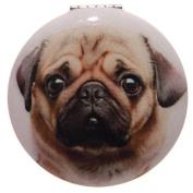 Round Mirror Compact by Laura Billingham - Pug Design C