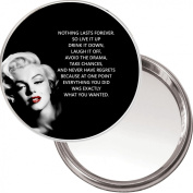 "Compact, Makeup Button Mirror with Marilyn Monroe image ""Nothing Lasts Forever..."" delivered in a black organza bag."