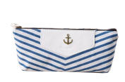 Homesunshine Portable Navy Style Canvas Pencil Pen Case Stationery Storage Bag Pouch Purse,Blue Stripe