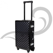 Black Quilted Trolley Case Filled With Make up