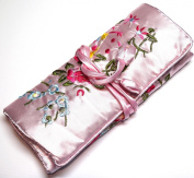 Pale Pink Embroidered Silk Floral Print Make Up Bag/ Wrap /Jewellery Roll