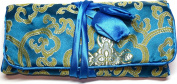 Blue Gold Silk Abstract Print Make Up Bag/ Wrap /Jewellery Roll