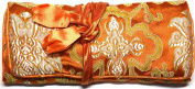 Burnt Orange Gold Silk Abstract Print Make Up Bag/ Wrap /Jewellery Roll