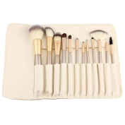 Contever® Premium Cosmetic Brush Set -12Pcs Professional Goat Hair Makeup Brush Tool Kit With White PU Pouch For Eyeliner Lip Powder Blush Face Brush Use