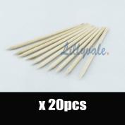 20Pcs Nail Art Orange Wood Sticks Cuticle Pusher Remover Pedicure Manicure Tool
