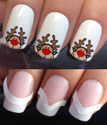 CHRISTMAS NAIL ART SET STICKERS DECALS WATER TRANSFERS. PLUS x48 FRENCH MANICURE TIP GUIDES! (797 & 172) XMAS SEASONAL HOLIDAYS CUTE RUDOLPH THE RED NOSE REINDEER DECORATIONS WRAPS! CAN BE USED WITH NATURAL GEL ACRYLIC STICK ON NAILS! USE WITH GLITTER ..