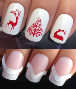 CHRISTMAS NAIL ART SET STICKERS DECALS WATER TRANSFERS. PLUS x48 FRENCH MANICURE TIP GUIDES! (790 & 172) XMAS SEASONAL HOLIDAYS RED REINDEER SILHOUETTE & FANCY SPIRAL CURL TREE DECORATIONS WRAPS! CAN BE USED WITH NATURAL GEL ACRYLIC STICK ON NAILS! USE ..