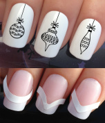 CHRISTMAS NAIL ART SET STICKERS DECALS WATER TRANSFERS. PLUS x48 FRENCH MANICURE TIP GUIDES! (785 & 172) XMAS SEASONAL HOLIDAYS BLACK SWIRL TREE DECORATIONS WRAPS! CAN BE USED WITH NATURAL GEL ACRYLIC STICK ON NAILS! USE WITH GLITTER DUST CAVIAR BEADS ..