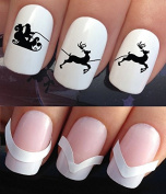 CHRISTMAS NAIL ART SET STICKERS DECALS WATER TRANSFERS. PLUS x48 FRENCH MANICURE TIP GUIDES! (774 & 172) XMAS SEASONAL HOLIDAYS SILHOUETTE EVE NIGHT SKY SANTA REINDEER RUDOLPH FLYING DECORATIONS WRAPS! CAN BE USED WITH NATURAL GEL ACRYLIC STICK ON NAIL ..