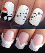 CHRISTMAS NAIL ART SET STICKERS DECALS WATER TRANSFERS. PLUS x48 FRENCH MANICURE TIP GUIDES! (765 & 172) XMAS SEASONAL HOLIDAYS DECORATIONS SANTA HAT FALLING SNOW SNOWFLAKES WRAPS! CAN BE USED WITH NATURAL GEL ACRYLIC STICK ON NAILS! USE WITH GLITTER D ..