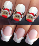 CHRISTMAS NAIL ART SET STICKERS DECALS WATER TRANSFERS. PLUS x48 FRENCH MANICURE TIP GUIDES! (756 & 172) XMAS SEASONAL HOLIDAYS RUDOLPH THE RED NOSED REINDEER SANTA HAT WRAPS! CAN BE USED WITH NATURAL GEL ACRYLIC STICK ON NAILS! USE WITH GLITTER DUST C ..