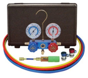Mastercool 89661-UV R134A Aluminium Manifold 6 0 in. Hoses Manual Couplers And10 Application Mini Dye Injector