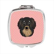Carolines Treasures BB1213SCM Checkerboard Pink Longhair Black And Tan Dachshund Compact Mirror 2.75 x 3 x .7.6cm .