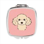 Carolines Treasures BB1258SCM Checkerboard Pink Buff Poodle Compact Mirror 2.75 x 3 x .7.6cm .