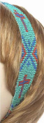 Accent Accessories 122355 Headband Cross-Seed Bead - Turquoise