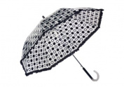 Elite Rain Frankford RAR-BLK Auto-Open Polka Dot Ruffle Umbrella Black