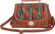 Aryana Adi-14-Brn Brown Multi Colour Crossbody Strap Hardware Accent Womens Handbag